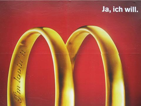 Fast-Food Werbung mit Eheringen